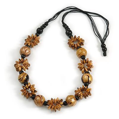 Long Natural/ Black/ Gold Wood Floral Necklace On Black Cotton Cord - 84cm L Adjustable