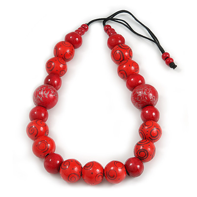 Chunky Cherry Red/ Fire Red Wood Bead Cotton Cord Necklace - 76cm L (Adjustable)