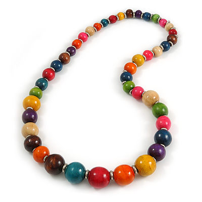 Stunning Round Wooden Bead Long Necklace in Multi/ 70cm Long