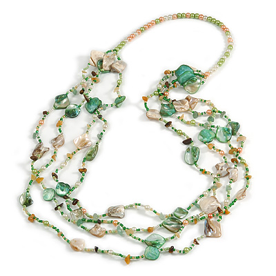 Long Multistrand Sea Shell/ Semiprecious Stone & Simulated Pearl Necklace in Green/ Antique White/ Brown - 100cm Length