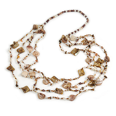 Long Multistrand Sea Shell/ Semiprecious Stone & Simulated Pearl Necklace in Natural/ Brown/ White - 100cm Length