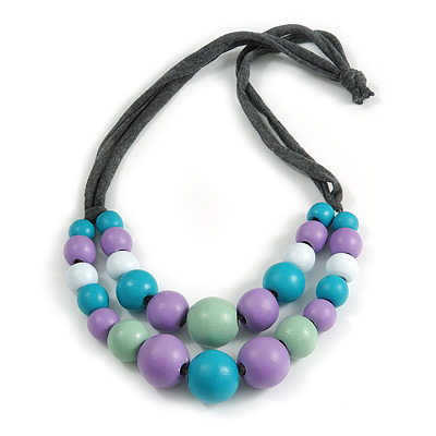 Layered Graduated Multicoloured Pastel Shades Wooden Bead with Grey Fabric Cord Necklace - 66cm Long