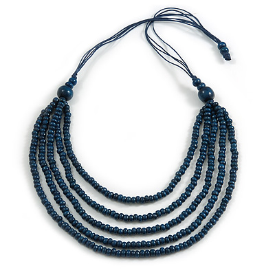Dark Blue Multistrand Layered Wood Bead with Cotton Cord Necklace - 90cm Max length- Adjustable