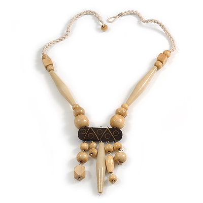 Tribal Wood/ Ceramic Bead Cotton Cord Necklace in Natural/ Brown - 60cm Long/ 10cm Long Front Drop
