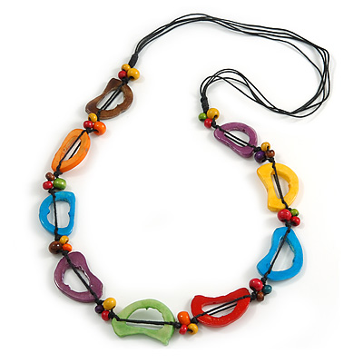 Multicoloured Bone and Wood Bead Black Cord Necklace - 80cm Long