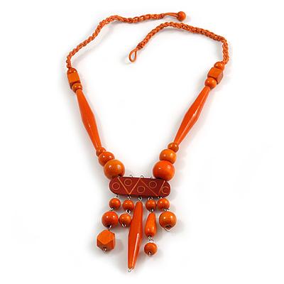 Tribal Wood/ Ceramic Bead Cotton Cord Necklace in Orange - 60cm Long/ 10cm Long Front Drop