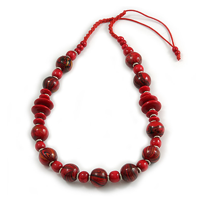 Red/ Black Wood Bead Cotton Cord Necklace - 80cm Max Length - Adjustable - main view