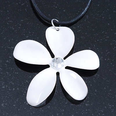 White Enamel 'Daisy' Pendant With Waxed Cotton Cord In Silver Tone - 38cm Length/ 7cm Extension