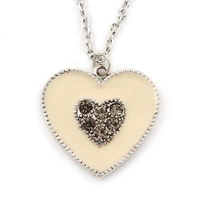 Milky White Enamel, Crystal 'Heart' Pendant With Silver Tone Chain - 40cm Length/ 7cm Extension - main view