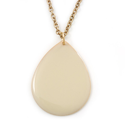 Cream Enamel Teardrop Pendant With Gold Tone Chain - 38cm Length/ 8cm Extension