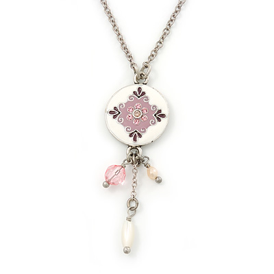 Delicate White, Pink Enamel Medallion Pendant With Antique Silver Chain Necklace - 36cm Length/ 7cm Extension