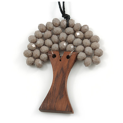 Grey Glass Bead/ Brown Wood Tree Of Life Pendant with Black Cotton Cord - 76cm L
