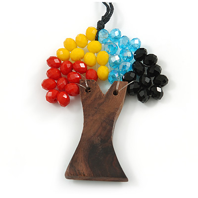 Multicoloured Glass Bead/ Brown Wood Tree Of Life Pendant with Black Cotton Cord - 76cm L