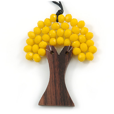 Bright Yellow Glass Bead/ Brown Wood Tree Of Life Pendant with Black Cotton Cord - 76cm L