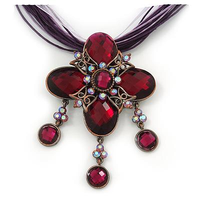 Vintage Violet/Purple Diamante 'Cross' Pendant Necklace On Cotton Cords In Bronze Metal - 38cm Length/ 7cm Extension