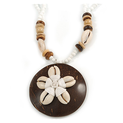 Brown/ Cream Coconut Shell Round Pendant with White Glass Bead Chain Necklace - 41cm L