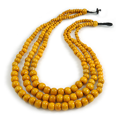 Statement Layered Wood Bead Necklace in Dusty Yellow - 70cm Long