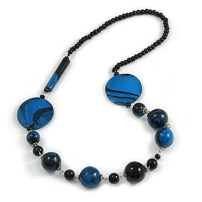 Stylish Animal Print Wooden Bead Necklace (Black & Blue) - 80cm Long