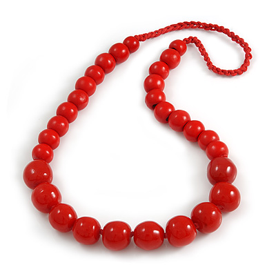 Red Wood and Ceramic Bead Cotton Cord Necklace - 70cm Long