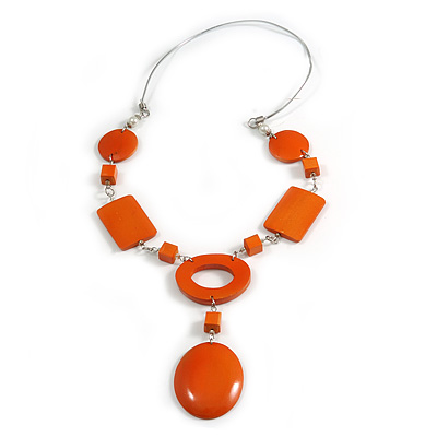 Statement Orange Wood Bead Geomentric Silver Cord Necklace - 66cm L/ 13cm Front Drop