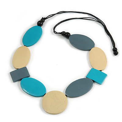 Long Teal Blue/ Grey/ Cream Geometric Wood Bead Necklace with Black Cotton Cords - 110cm L