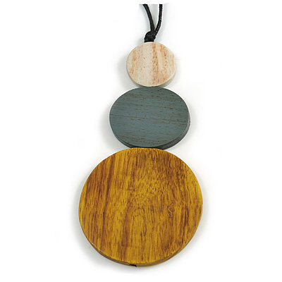 Yellow/ Grey/ Off White Triple Disc Wood Bead Pendant with Black Waxed Cords - 80cm Long/ 12cm Pendant