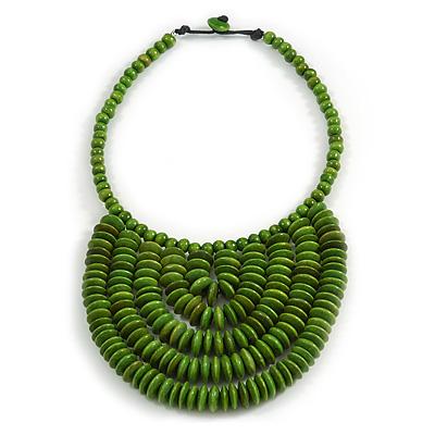 Statement Lime Green Wood Bead Bib Necklace - 44cm Long/ 10cm Drop