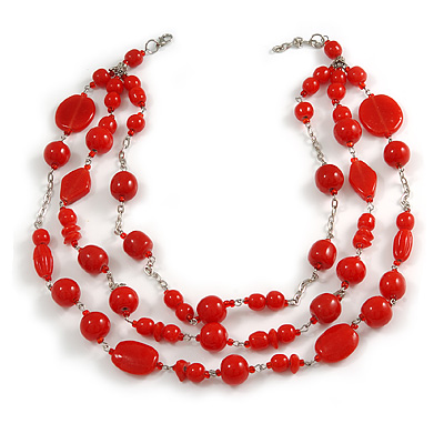 210g Solid 3 Strand Red Glass & Ceramic Bead Necklace In Silver Tone - 60cm L/ 5cm