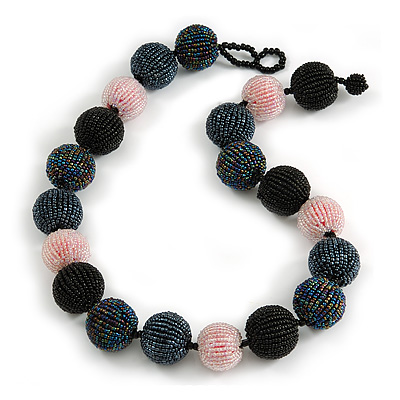 Chunky Black/ Pink/ Hematite/ Peacock Glass Beaded Necklace - 57cm Length