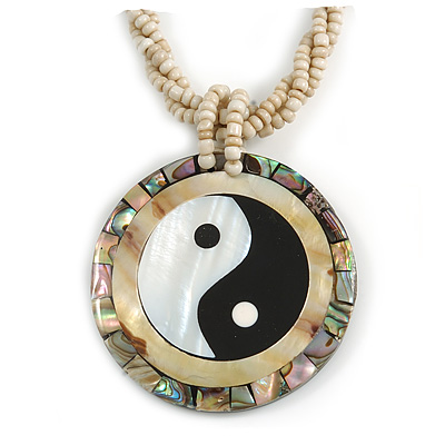 Mother Of Pearl 'Yin Yang' Round Pendant with Twisted Glass Bead Necklace in Antique White - 44cm L/ 50mm Diameter