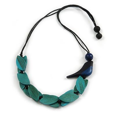 Teal Wood Leaf with Dark Blue Wood Bird Black Cotton Cords Necklace - 80cm L Adjustable