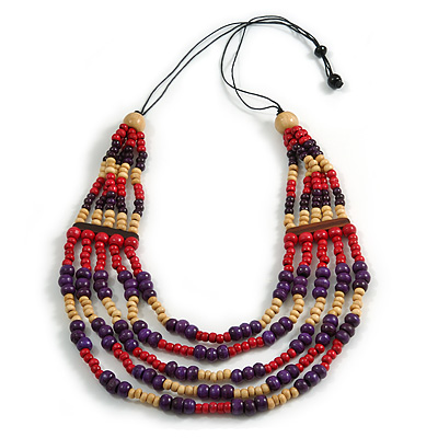 Multistrand Natural/ Red/ Purple Wooden Bead Black Cord Necklace - 100cm L Adjustable