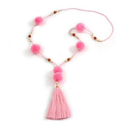 Baby Pink Glass Bead, Pom Pom, Tassel Long Necklace - 88cm L/ 17cm Tassel