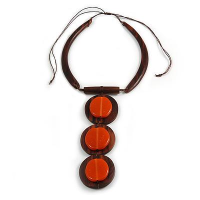 Statement Geometric Brown Wood and Orange Ceramic Bead Tassel Necklace - 44cm Long/ 17cm Front Drop