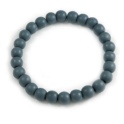 Chunky Grey Round Bead Wood Flex Necklace - 44cm Long