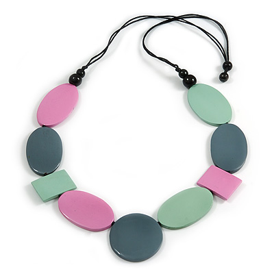Long Mint/ Pink/ Grey Geometric Wood Bead Necklace with Black Cotton Cords - 110cm L