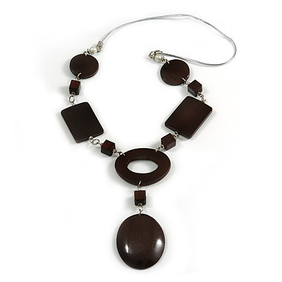 Statement Brown Wood Bead Geomentric Silver Cord Necklace - 66cm L/ 13cm Front Drop