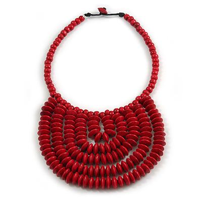 Statement Cherry Red Wood Bead Bib Necklace - 44cm Long/ 10cm Drop