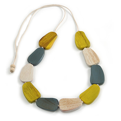 Anitque Yellow/ Off White/ Grey Geometric Wood Bead White Cotton Cord Long Necklace - 100cm L/ Adjustable