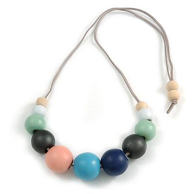 Multicoloured Graduated Wood Bead Grey Suede Cord Necklace - 80cm L - Adjustable