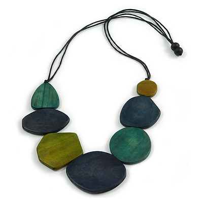 Geometric Wood Bead Black Cotton Cord Necklace in Blue/ Olive/ Teal - 80cm Long - Adjustable