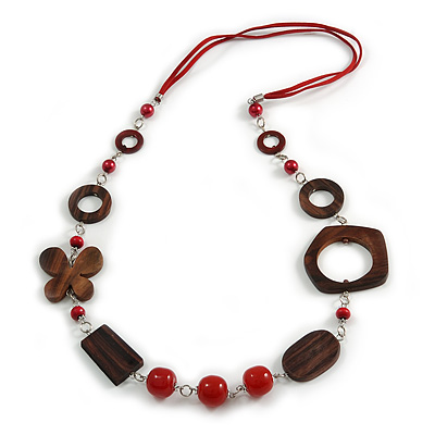 Long Wood, Glass, Ceramic Bead Blue Suede Cord Necklace in Red/ Brown - 88cm Long