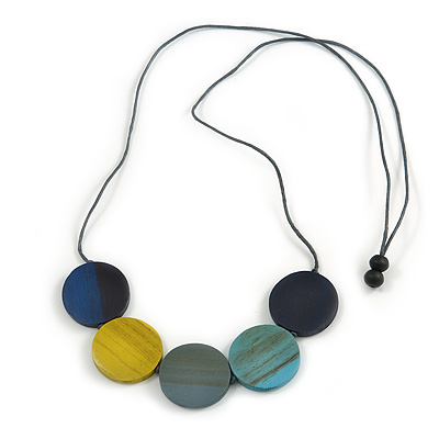 Multicoloured Wood Coin Bead Grey Cotton Cord Necklace - 94cm L (Max Length) Adjustable