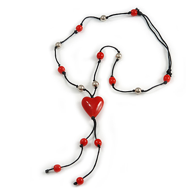 Red Glass Heart Pendant on Black Cotton Cord with Ceramic and Metal Beads Necklace - 64cm Long/ 15cm Tassel