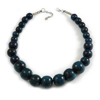 Animal Print Wood Bead Chunky Necklace (Teal Blue/ Black) - 50cm L/ 5cm Ext
