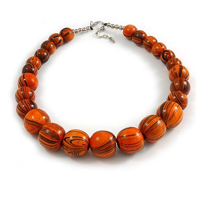 Animal Print Wood Bead Chunky Necklace (Orange/ Black) - 50cm L/ 5cm Ext
