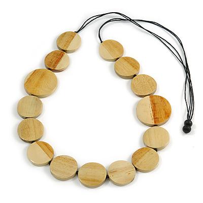 Melange Natural Coin Wood Bead Black Cotton Cord Long Necklace - 100cm Long (Max Length) Adjustable