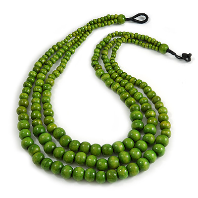 Statement Layered Wood Bead Necklace in Lime Green - 70cm Long