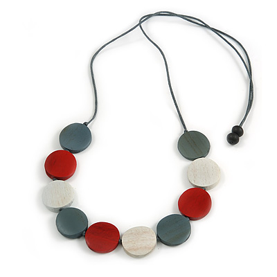 Grey/ Off White/ Red Wood Coin Bead Grey Cotton Cord Necklace - 86cm L (Max Length) Adjustable