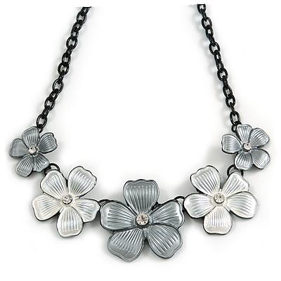 Metallic White/ Metallic Silver Matte Enamel Floral Necklace In Black Tone - 40cm L/ 6cm Ext